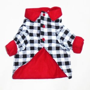 Black White Red Dog Coat Jacket Small NEW